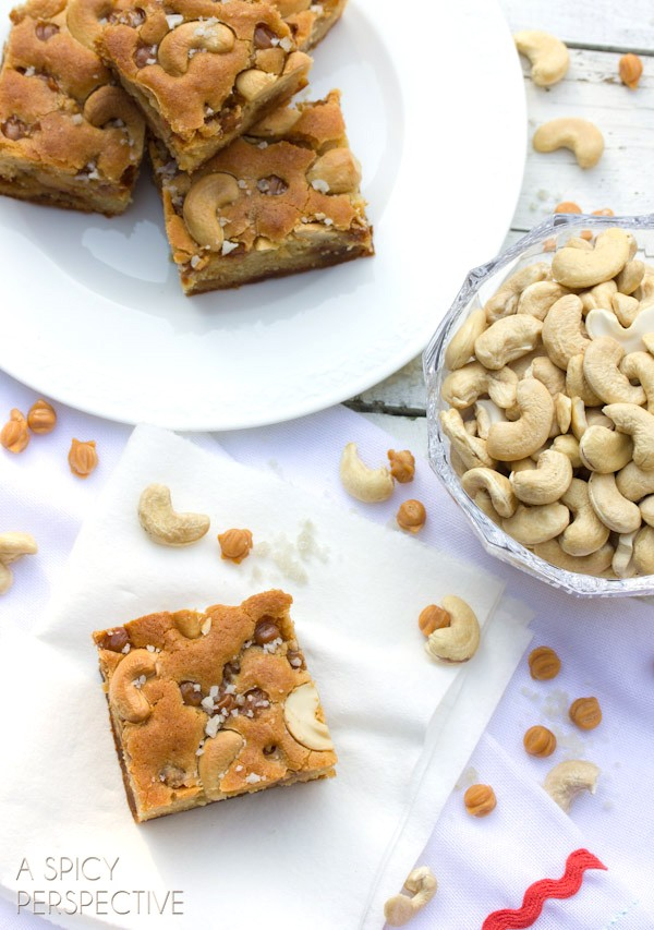 The BEST Salted Caramel Cashew Blondies (Made with Yogurt!) on ASpicyPerspective.com #blondies
