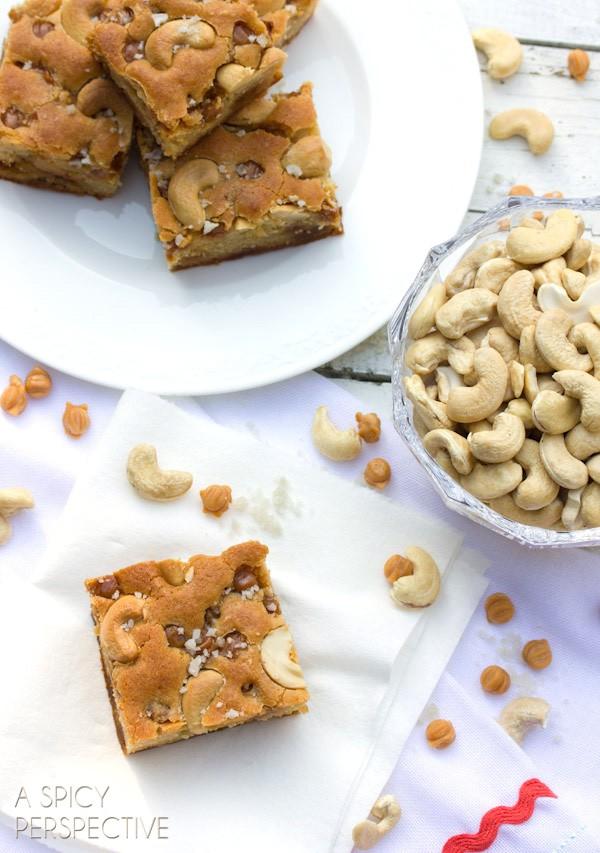 The BEST Salted Caramel Cashew Blondies (Made with Yogurt!) on ASpicyPerspective.com #blondies
