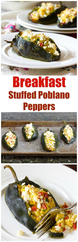 Breakfast Stuffed Poblano Peppers on ASpicyPerspective.com #breakfast #mexican