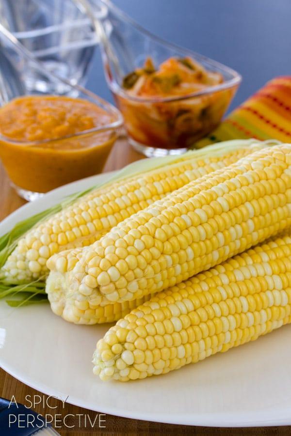 Grilled Corn on the Cob   ASpicyPerspective.com #grilling #summer #corn #grilledcorn