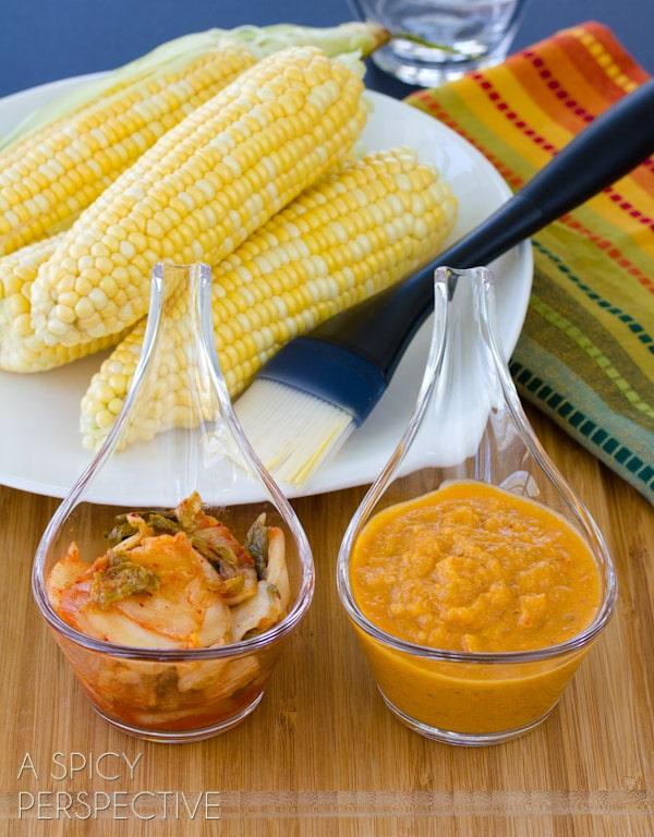 Kimchi Butter Grilled Corn on the Cob   ASpicyPerspective.com #grilling #summer #corn #grilledcorn