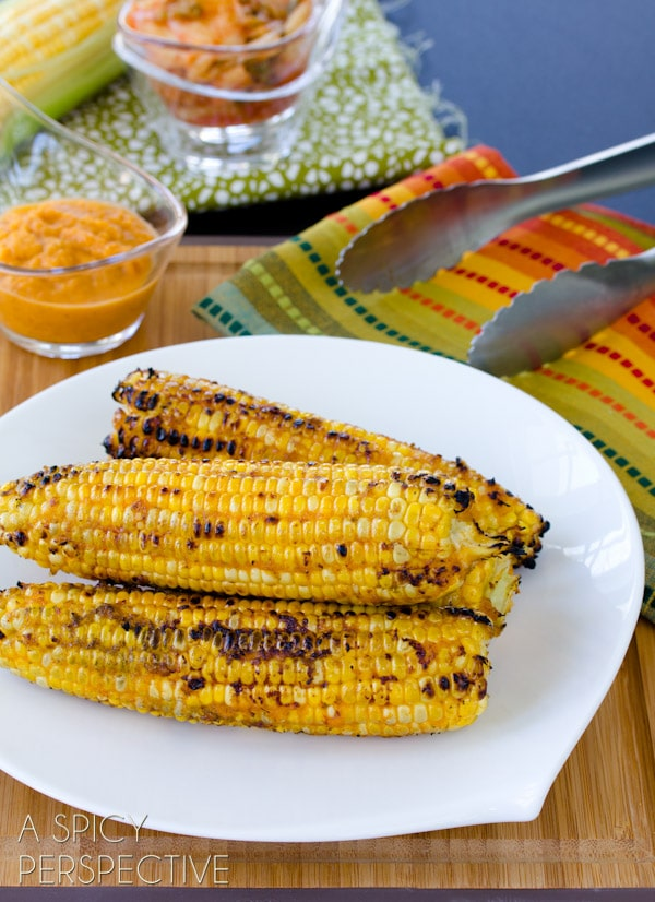 Tangy Kimchi Grilled Corn on the Cob | ASpicyPerspective.com #grilling #summer #corn #grilledcorn