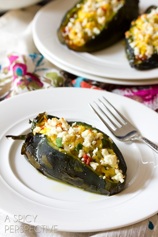 Breakfast Stuffed Poblano Peppers | ASpicyPerspective.com #cheese #realcaliforniamilk #peppers #breakfast