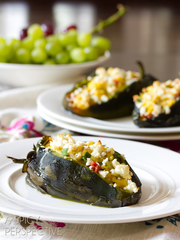 Smoky Breakfast Stuffed Poblano Peppers | ASpicyPerspective.com #cheese #realcaliforniamilk #peppers #breakfast