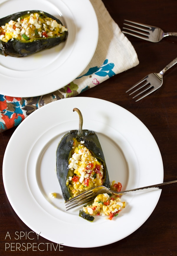Stuffed Poblano Peppers | ASpicyPerspective.com #cheese #realcaliforniamilk #peppers #breakfast