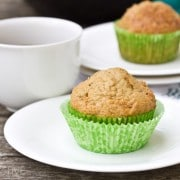 Applesauce Muffins with Fresh Pear #breakfast #muffins