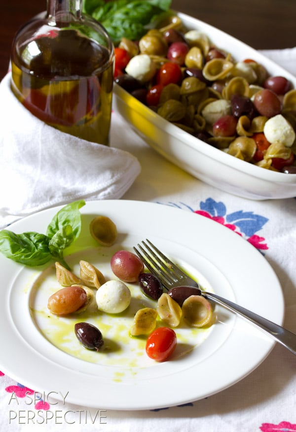 Pasta Salad with Roasted Grapes and Tomatoes | ASpicyPerspective.com #pastasalad #roastedtomatoes #picnic