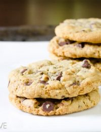 Toffee Chocolate Chip Cookies | ASpicyPerspective.com #chocolatechip #cookies #recipe