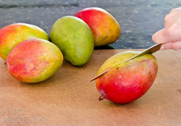 How To: Cut a Mango | ASpicyPerspective.com #howto #cookingtips #mango