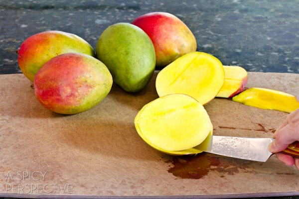 How to Cut Mango | ASpicyPerspective.com #howto #cookingtips #mango