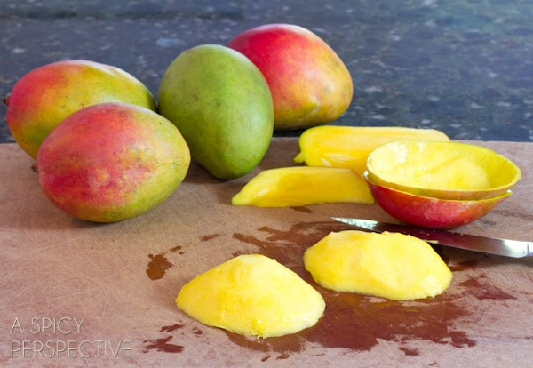 How to Peel a Mango | ASpicyPerspective.com #howto #cookingtips #mango
