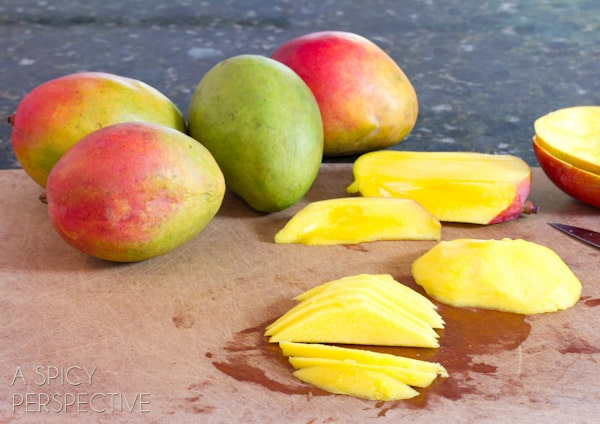 How to Slice a Mango | ASpicyPerspective.com #howto #cookingtips #mango