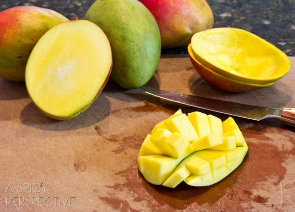 How to Chop a Mango | ASpicyPerspective.com #howto #cookingtips #mango