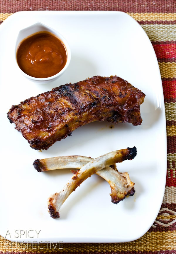 Babyback Ribs Recipe + Honey Apple Buffalo Sauce Recipe   ASpicyPerspective.com #ribs #grilling #summer #applebutterrecipes