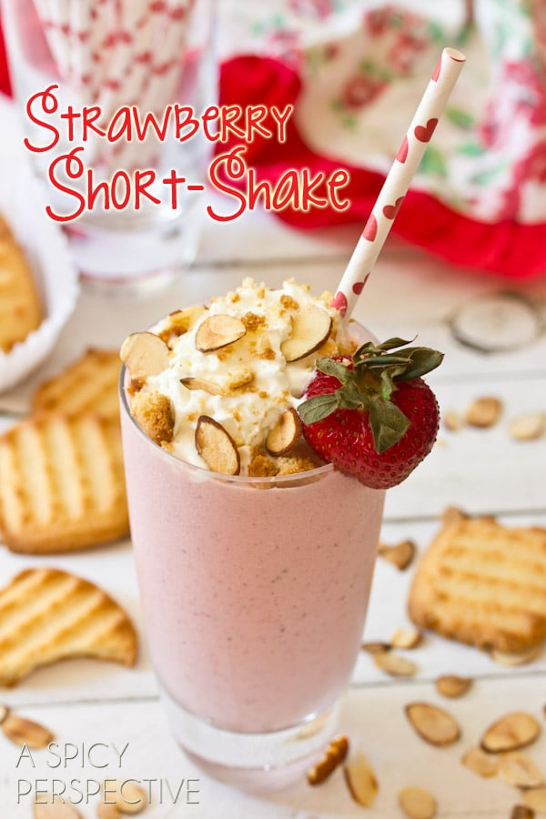 Strawberry Short-Shake - Strawberry Shortcake Milkshake | ASpicyPerspective.com #30daysofCAdairy @realcalifmilk #milkshake #strawberry