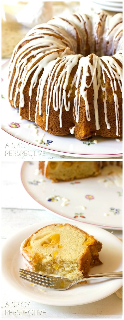 (Peach Cake) Peaches n' Cream Cake on ASpicyPerspective.com