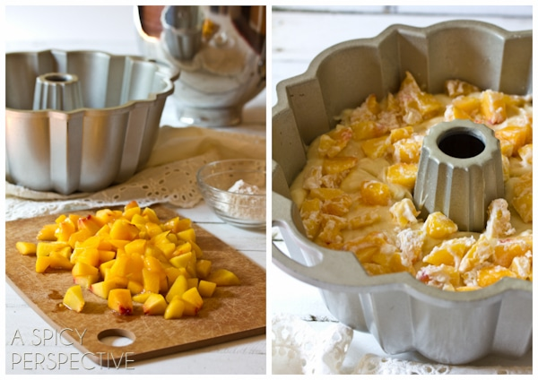 How to Make Peach Cake | ASpicyPerspective.com #cake #peach #bundtcake #summer #recipe