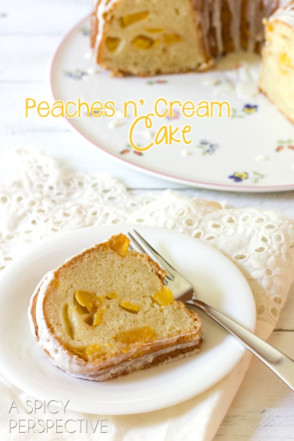 (Peach Cake) Fab Peaches n' Cream Cake on ASpicyPerspective.com #cake #peach #bundtcake #summer #recipe
