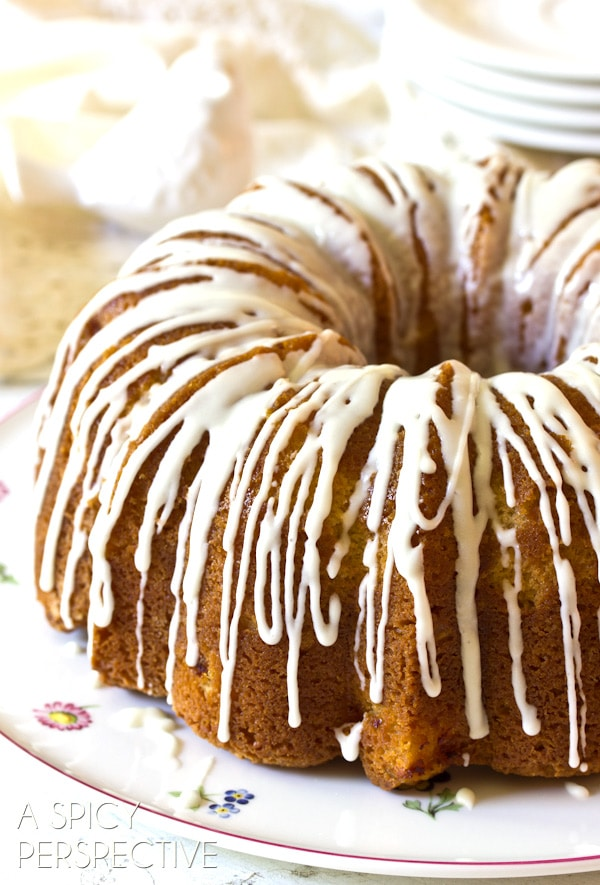 Love this Peaches n' Cream Cake on ASpicyPerspective.com #cake #peach #bundtcake #summer #recipe