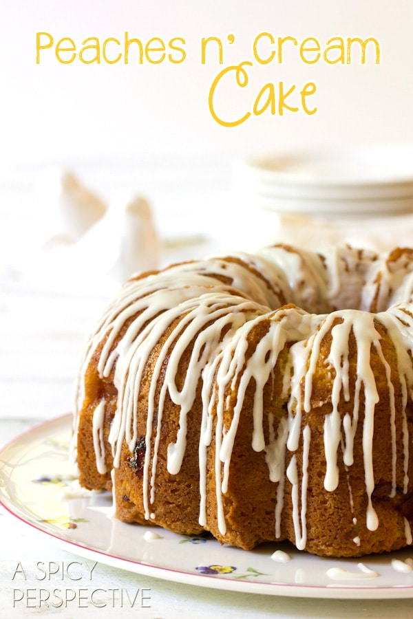 (Peach Cake) Peaches n' Cream Cake on ASpicyPerspective.com #cake #peach #bundtcake #summer #recipe
