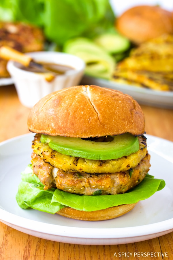 Best Ahi Tuna Burgers with Grilled Pineapple Recipe
