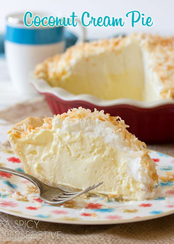 Coconut Cream Pie Recipe #ASpicyPerspective #CoconutCream #CoconutCreamPie #CoconutCreamPieRecipe #Coconut #Cream #Pie #Summer #Dessert