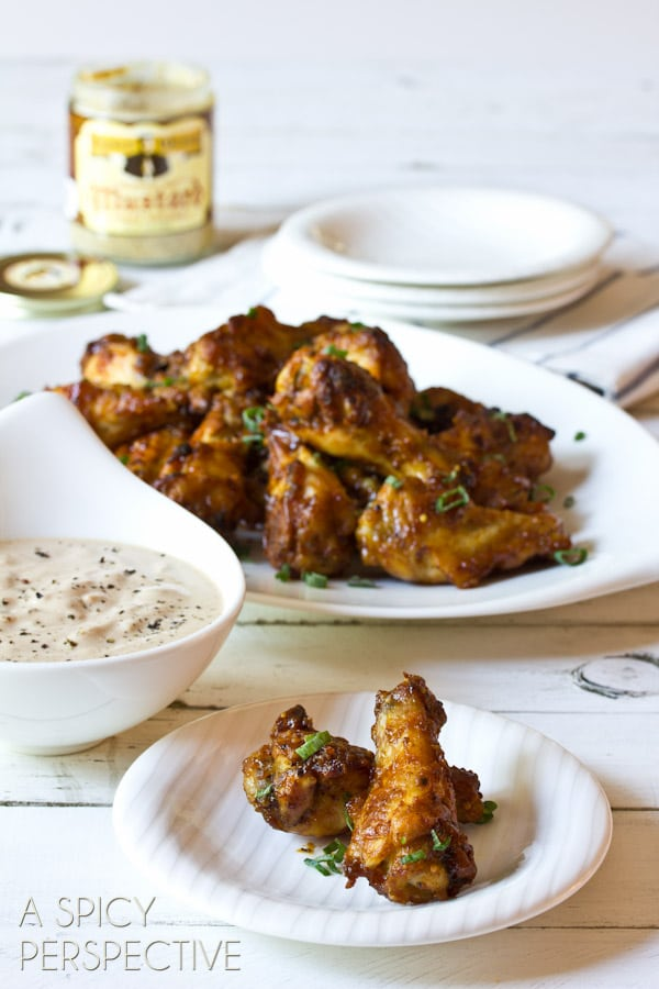 Sweet and Spicy Chicken Wing with Apple Onion Dip | ASpicyPerspective.com #chicken #recipe #party #appetizer