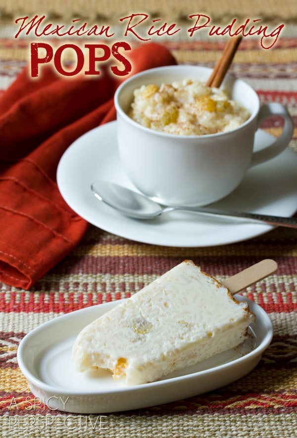 Mexican Rice Pudding Pops   ASpicyPerspective.com #mexican #recipe #pudding #popsicles