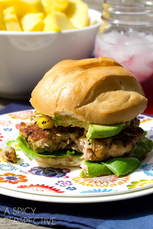 Hawaiian Ahi Tuna Burgers with Grilled Pineapple | ASpicyPerspective.com #summer #hawaii #burgers #recipe