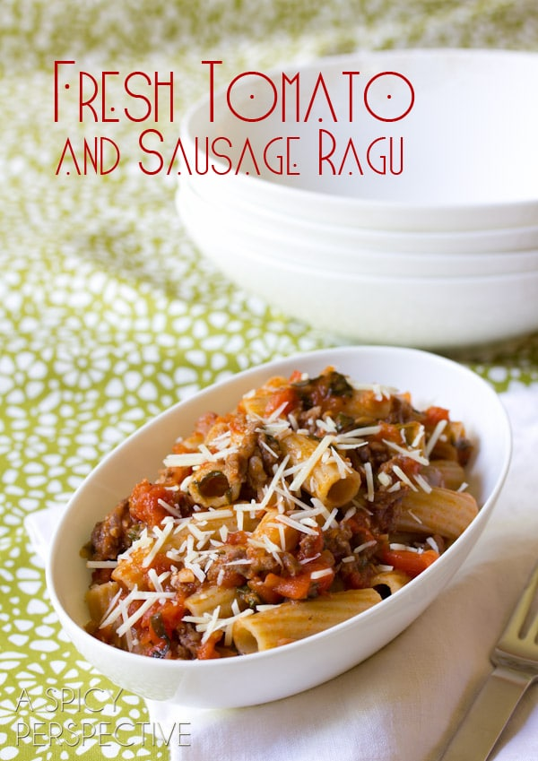 Homemade Pasta Sauce with FRESH Tomatoes and Italian Sausage | ASpicyPerspective.com #tomato #pasta
