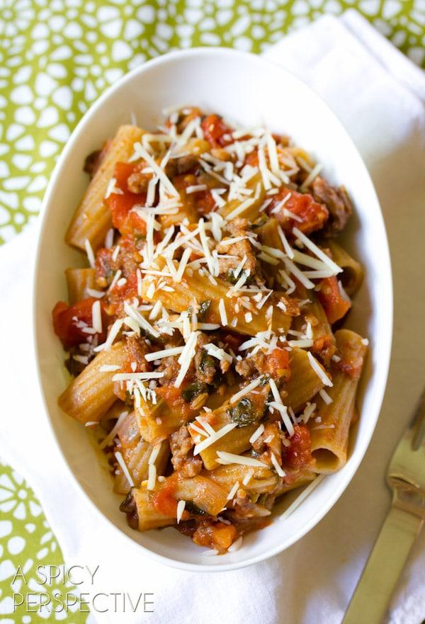 Ragu Recipe with FRESH Tomatoes and Italian Sausage   ASpicyPerspective.com #tomato #pasta