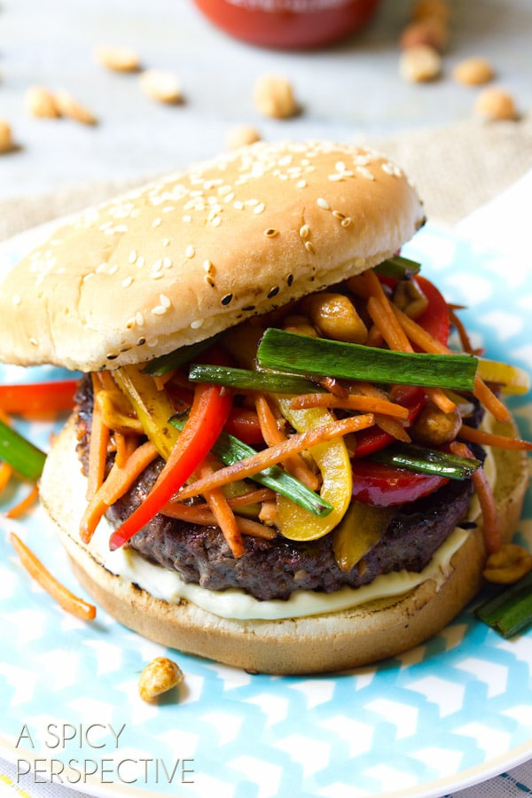 Szechuan Beef Hamburgers | ASpicyPerspective.com #recipe #burger #hamburger #grilling #chinese