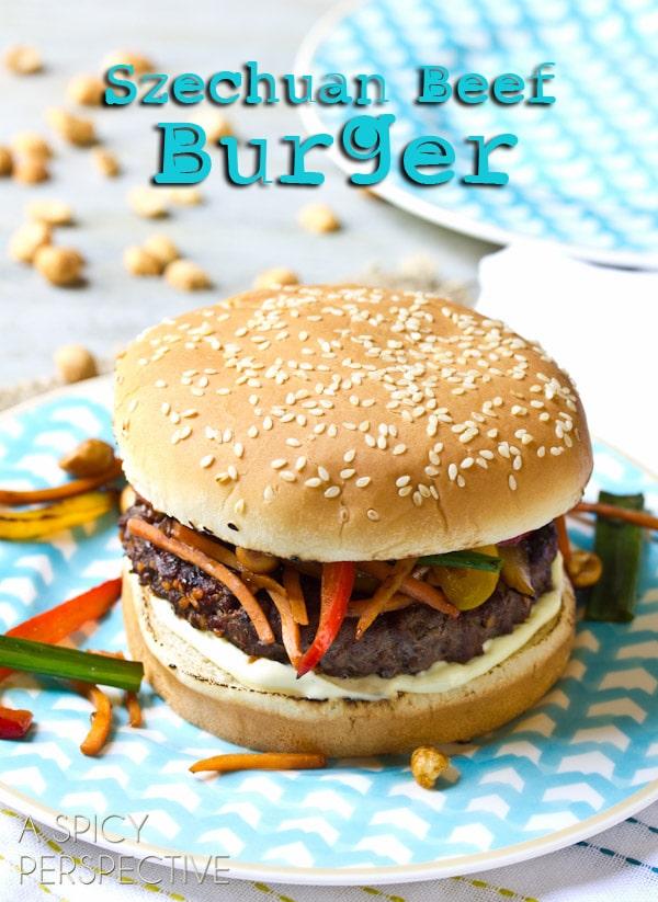 Spicy Szechuan Beef Burgers | ASpicyPerspective.com #recipe #burger #hamburger #grilling #chinese