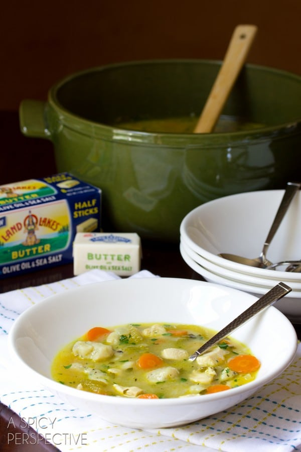 Chicken and Dumplings Soup | ASpicyPerspective.com #soup #Chickenanddumplings #recipe