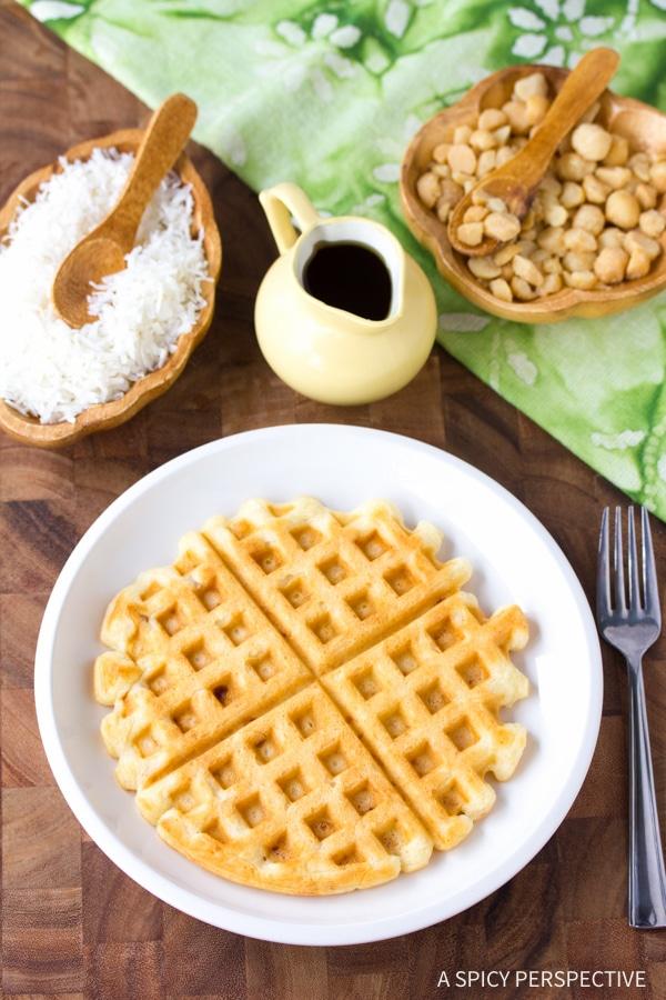 Crispy Coconut Macadamia Nut Waffles Recipe