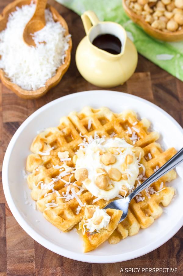 Simple Coconut Macadamia Nut Waffles Recipe