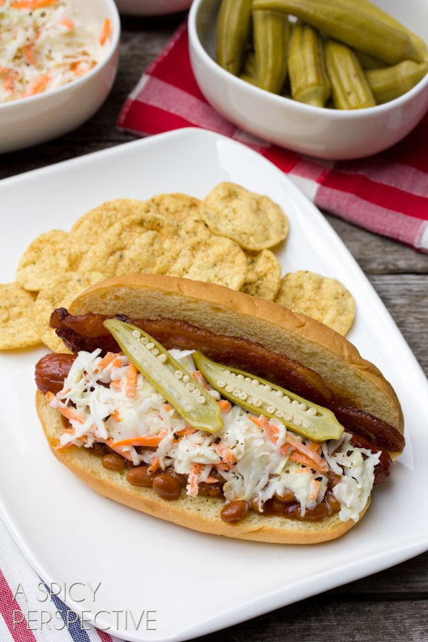 """""""Southern Comfort"""" Hot Dog Recipe with Bacon, Baked Beans, and Slaw   ASpicyPerspective.com #summer #hotdog #recipe"""