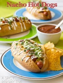 Nacho Hot Dog Recipe | ASpicyPerspective.com #hotdog #summer #nachos #recipe
