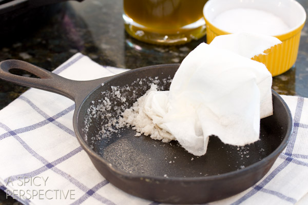 Cleaning Skillet #ASpicyPerspective #CastIronSkillet #HowtoCleanaCastIronSkillet #HowtoSeasonaCastIronSkillet #HowTo #DIY #Kitchen