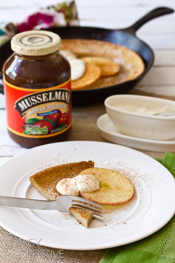 Fall Apple Dutch Baby Recipe | ASpicyPerspective.com #apple #recipe #dutchbaby #fall