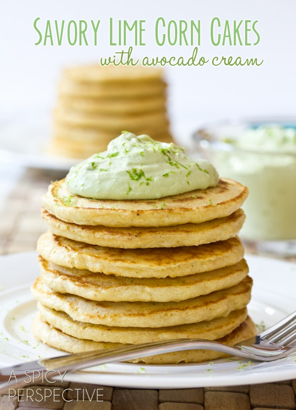 Savory Lime Corn Cakes with Avocado Cream | ASpicyPerspective.com #avocado #breakfast #guacamole #MiniGuac