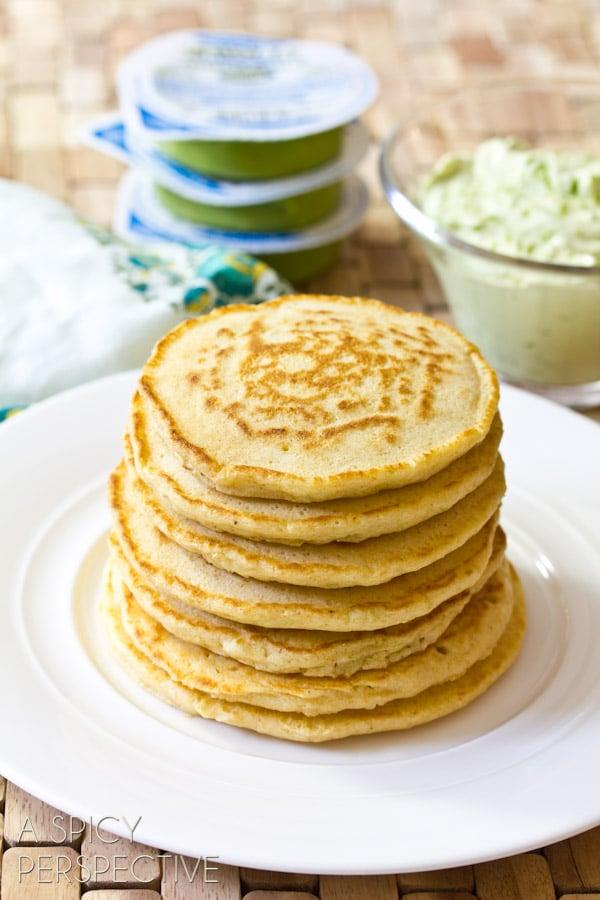 Corn Cakes with Avocado Cream | ASpicyPerspective.com #avocado #breakfast #guacamole #savory