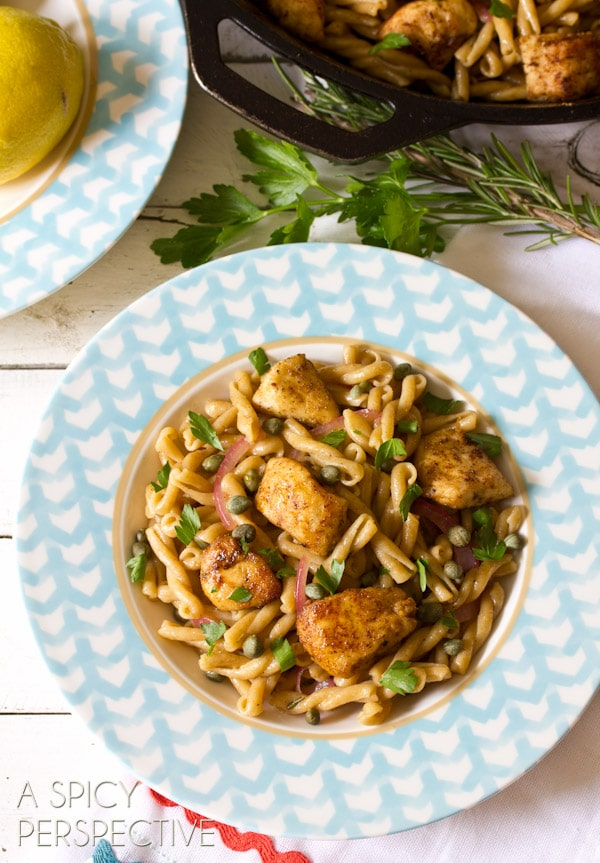 Chicken Picatta Pasta | ASpicyPerspective.com #pasta #chickenrecipe #chicken