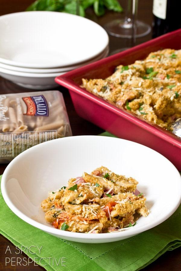 Italian Homemade Baked Mac and Cheese Recipe   ASpicyPerspective.com #macandcheese #pasta #delallo
