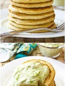 Savory Corn Cakes with Avocado Cream   ASpicyPerspective.com #avocado #breakfast #guacamole #savory