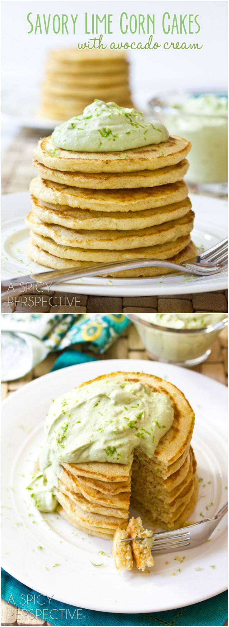 Savory Corn Cakes with Avocado Cream | ASpicyPerspective.com #avocado #breakfast #guacamole #savory