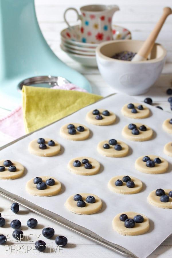 Baking - Fresh Blueberry Shortbread Cookies with Lemon Frosting   ASpicyPerspective.com #cookies #shortbread #blueberries #babyshower