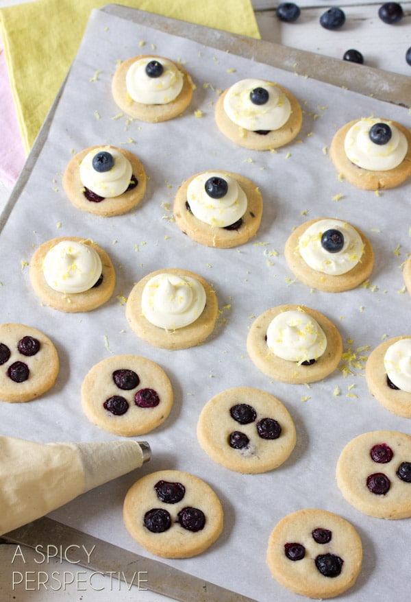 How to Make Fresh Blueberry Shortbread Cookies with Lemon Frosting   ASpicyPerspective.com #cookies #shortbread #blueberries #babyshower