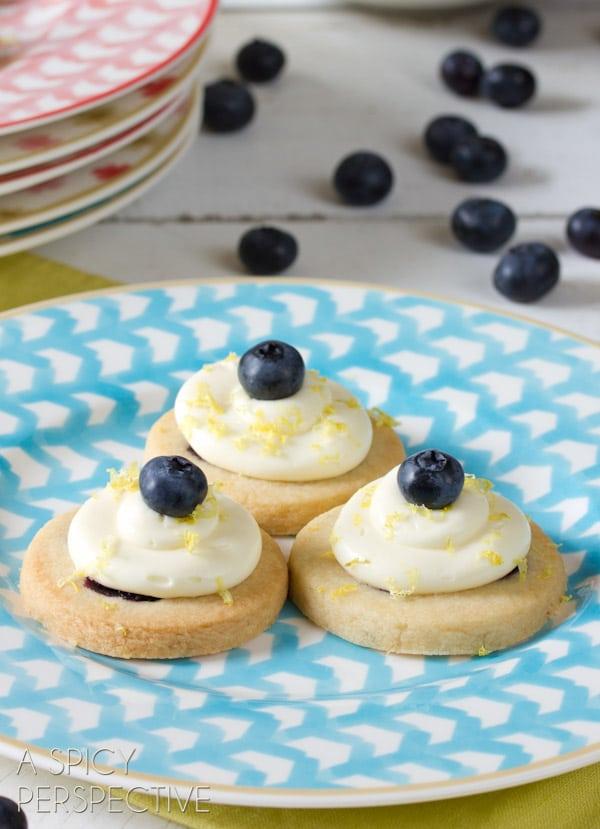 Fresh Blueberry Shortbread with Lemon Frosting   ASpicyPerspective.com #cookies #shortbread #blueberries #babyshower
