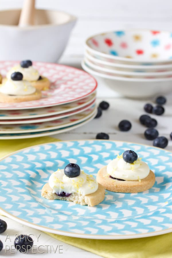 Fresh Blueberry Shortbread with Lemon Frosting | ASpicyPerspective.com #cookies #shortbread #blueberries #babyshower